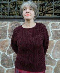 Pullover with Cables and Diamonds