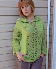Hooded Pullover with Lace Pattern