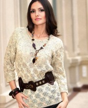 Knitted pullover with yoke and lace pattern