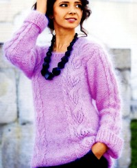 Long Pullover with Cable Lace Pattern