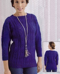 Pullover with Lace and Cable Panel
