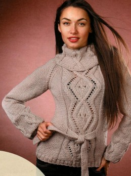 Sweater with Cable Diamonds