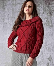Pullover with Collar in Fancy Pattern