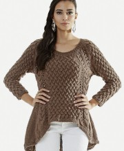 Pullover with Side Slants and Cable Pattern