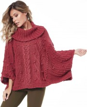 Poncho Sweater with Centre Cable