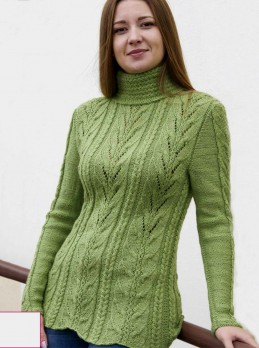 Sweater with Leaves and Cables