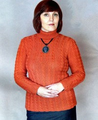 Terracotta Sweater with Cable Pattern