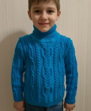 Knitted Boy's Sweater with Cables