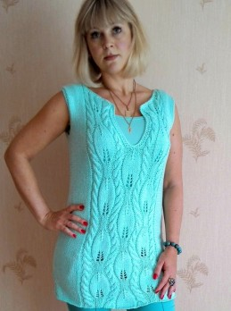 Summer Tunic with Leaf Pattern with Cables