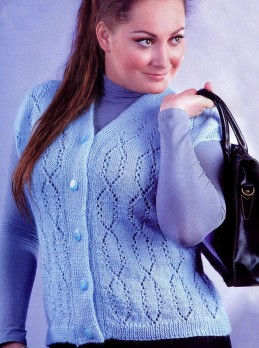 Blue Vest in Lace Pattern